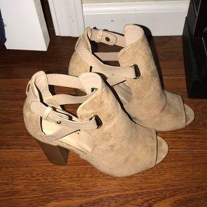 Shoedazzle Beige Suede Bootie Heels
